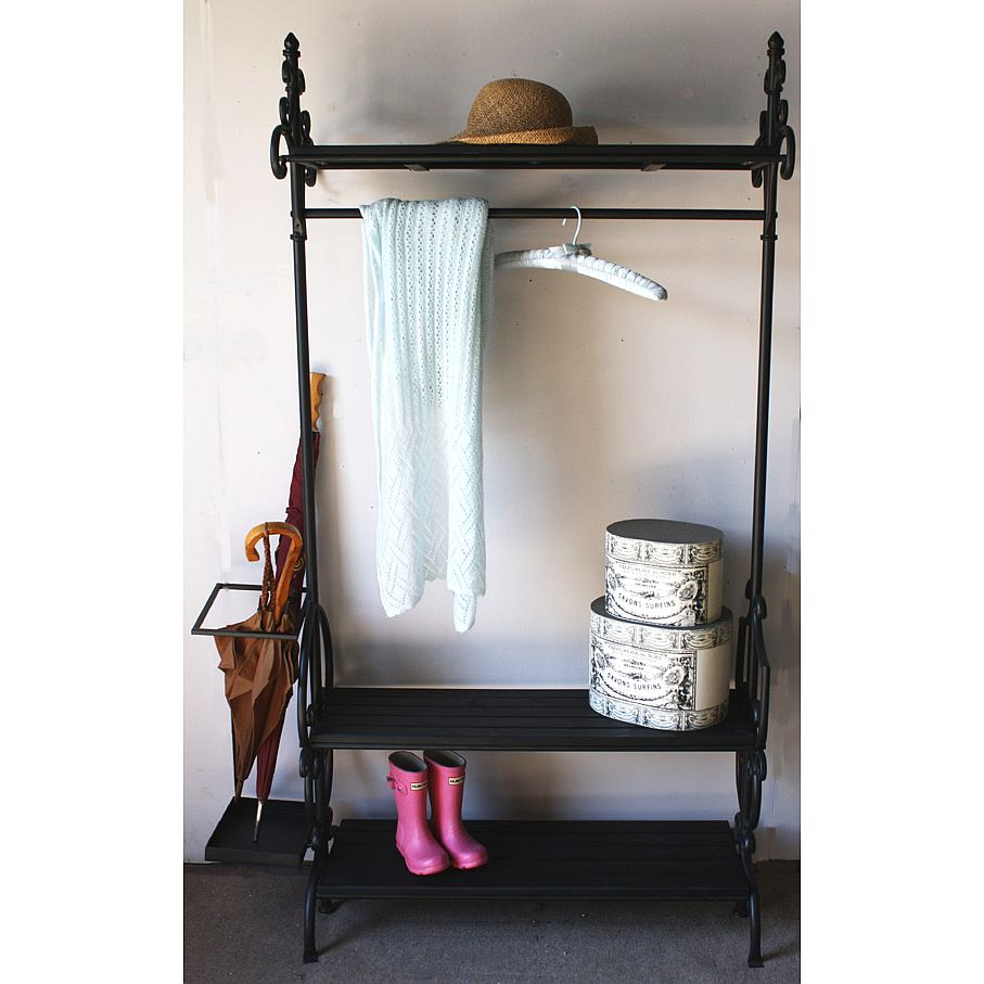 Black Umbrella Coat And Boot Rack